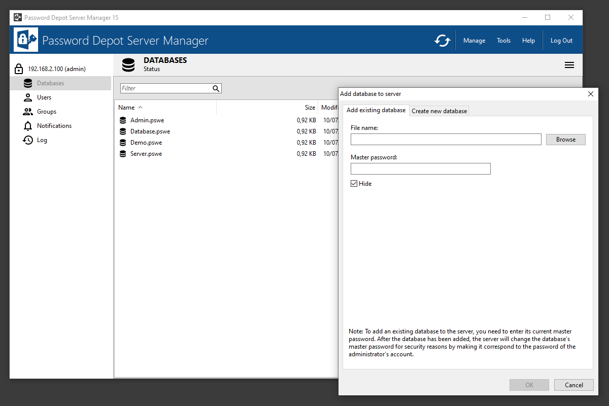 Add existing databases to the Enterprise Server or create new ones.